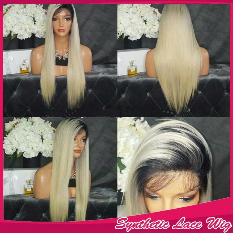 Hot Sexy ombre 1b # 613 # blonde largo sedoso medio parte del peinado peluca sintética del frente del cordón suave del pelo del bebé puede HeatPermed