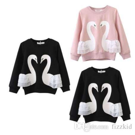 Лебедь ребенок дети новорожденных девочек мальчик хлопок с длинным рукавом толстовки кружева рубашка верхняя одежда Enfant девочка мальчики печати теплый Hoded кофты