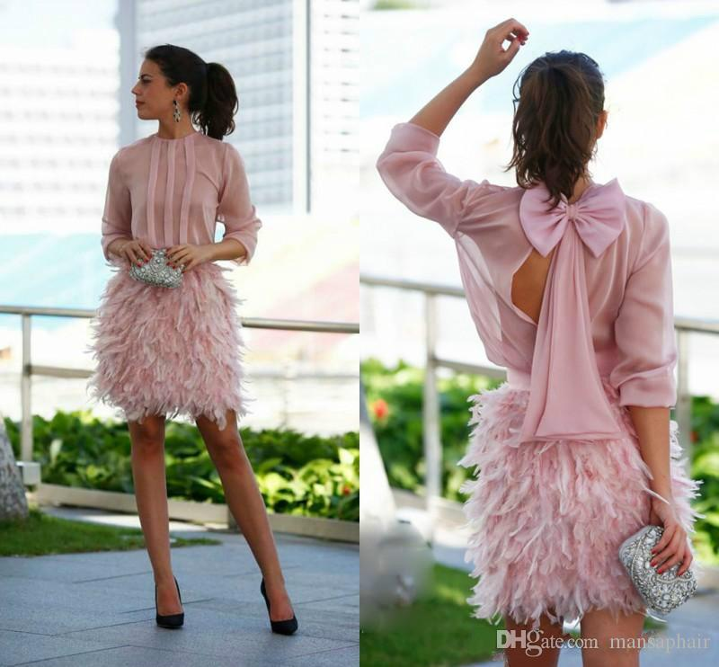 Luxury Feather Short Prom Dresses Pink Long Sleeves Open Back With Bow Evening Gowns Gorgeous Cocktail Party Dresses For Special Occasion