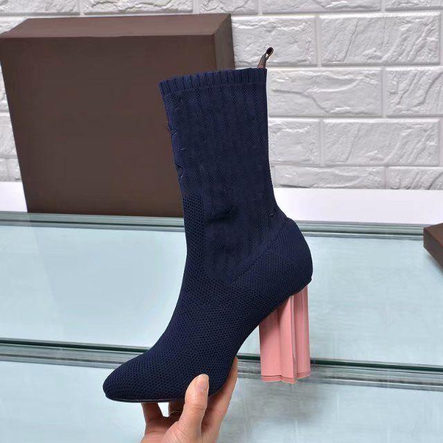 [Orignal Box] Luxe Sexy Chaussettes Talon haut 10CM Femmes Demi cheville court d'hiver Bottes de neige Chevalier broderie tissu extensible Chaussures Taille 35-41