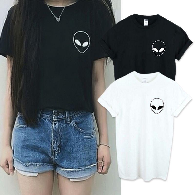 Nouveau mode broderie Tee Shirt étrangers T Shirt femmes manches courtes confortable étudiantes T-shirts XS-4XL