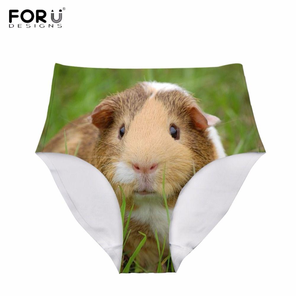 FORUDESIGNS Funny 3D Animal Guinea Pig Printed Women High Waist Panties Fitness Girls Summer Traceless Underwear Breath Knickers