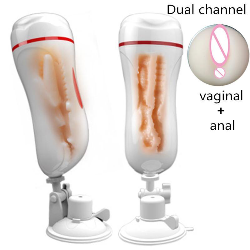 Sex Shop Sexo Duplo Canal Vagina Artificial Vagina Anal Vibrador Copo Masturbador Com Ventosa Brinquedos Sexuais Para Homens Sex Machine Y1892003