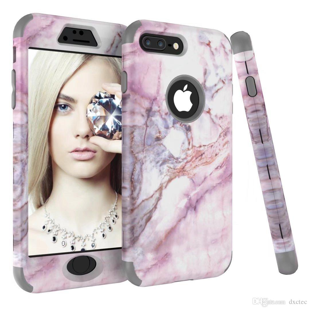 Hybrid Tri-layer Silicone Gel Back Cover Shell Armor Bumper Defender Marble Phone Case Enhance for iPhone X XS Max XR 6s 7 8