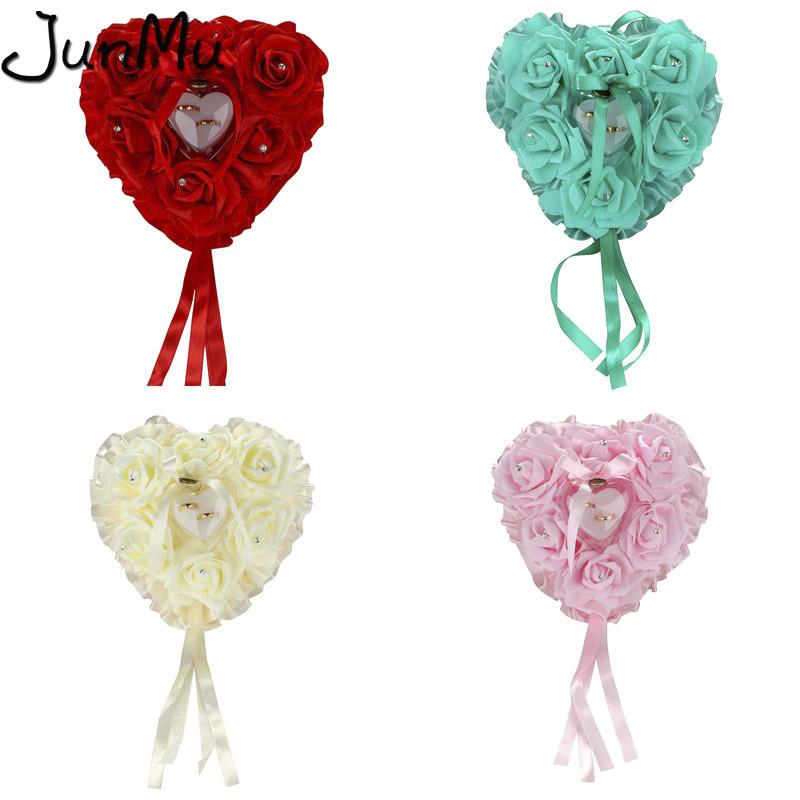 Hanging Wedding Ring Pillow with Gift Ring Box Wedding Ring Pillow Box Heart Shape Rhinestones for Wedding Decoration