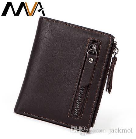 MVA Hommes Portefeuilles Mâle Sac À Main En Cuir Véritable Portefeuille avec Coin Poche Zipper Court Titulaire de la Carte de Crédit Portefeuilles Hommes En Cuir Portefeuille