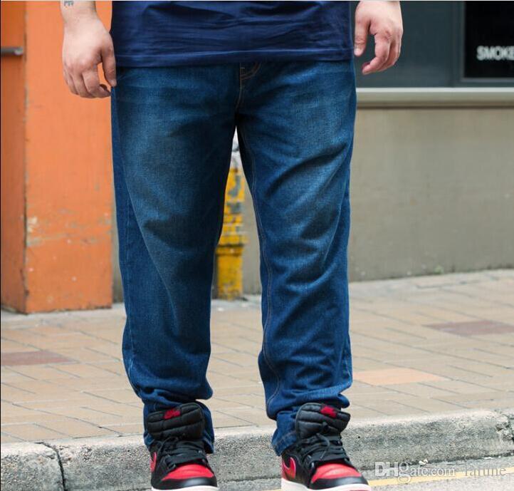 Compre Pantalones Vaqueros Ocasionales De Los Hombres Mas El Tamano Pantalones Largos Sueltos Gordos Pantalones Rectos De Mezclilla Azul Jean Negro Ropa Para Hombres A 51 87 Del Lalune Dhgate Com