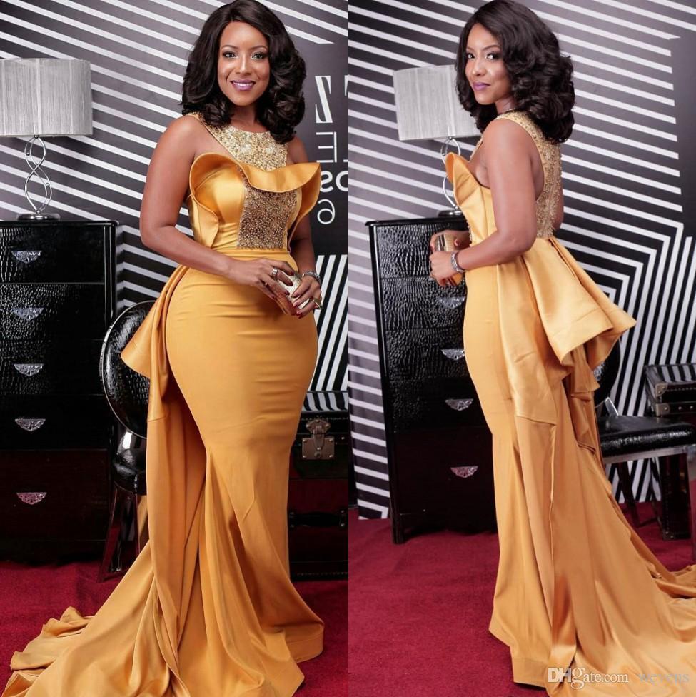 Gold Mermaid Beaded Prom Dresses Jewel Neck Peplum Plus Size Evening Gowns  Satin Sweep Train Black Girl Formal Dress Prom Dresses Plus Shop Prom Dress  ...