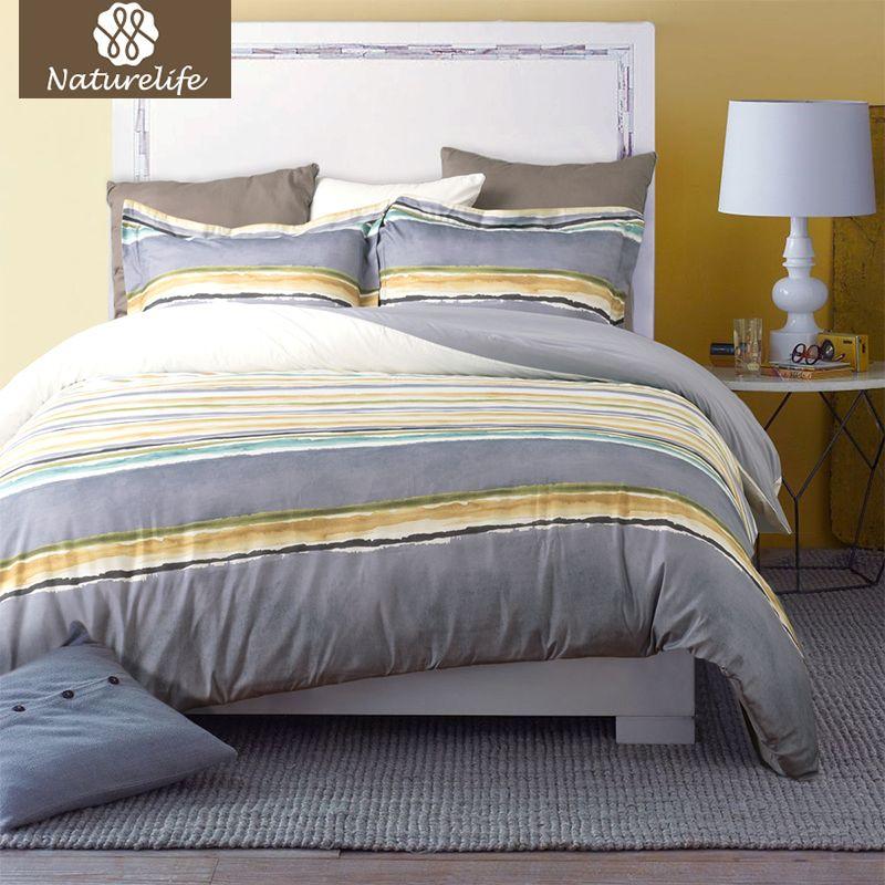 Naturelife Duvet Cover Set Soft Striped Hypoallergenic Washed Cotton Pillowcase Duvet Cover Bed Quilt Bedlinen Bedclothes