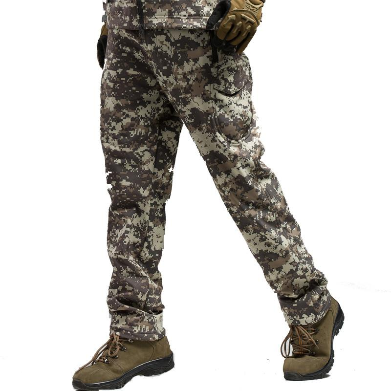 Winter Tactical Cargo Pants Men Soft Shell Military SWAT Camo Pants Army Combat Paintball Waterproof Warm Casual CS Trousers