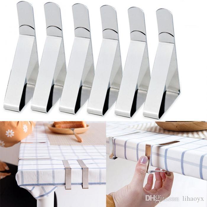 الفولاذ المقاوم للصدأ غطاء الطاولة القماش كليب الصلب سماط كليب المشبك حامل الزفاف الديكور حزب اللوازم c745