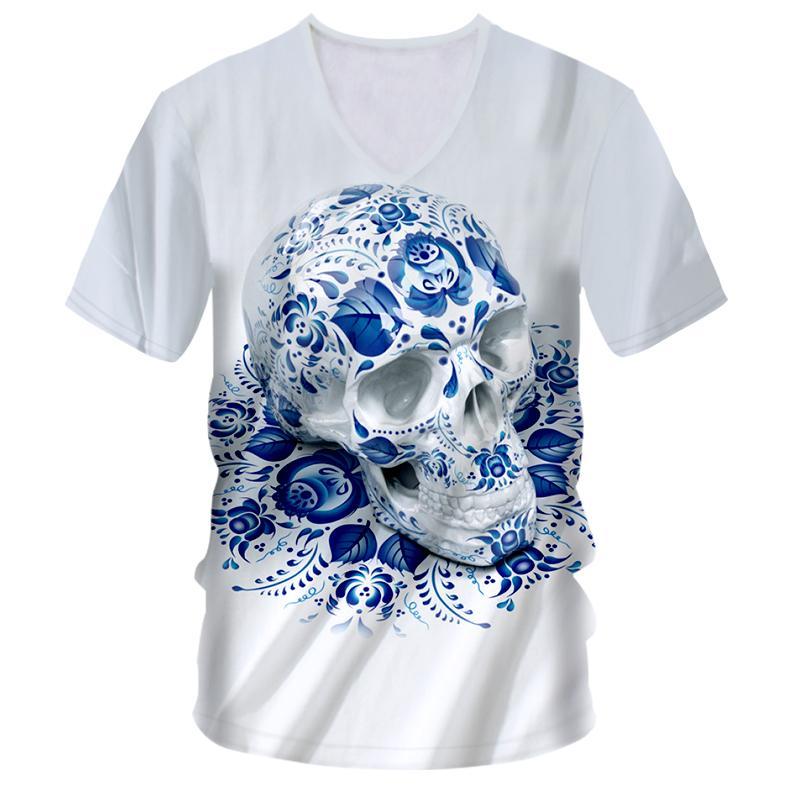 Ogkb T-shirts Homme Col V à manches courtes à manches courtes en V Skulls 3D T-shirt Impression Bleu Skulls Hip Hop Street 7XL Vêtements Unisexe T-shirt