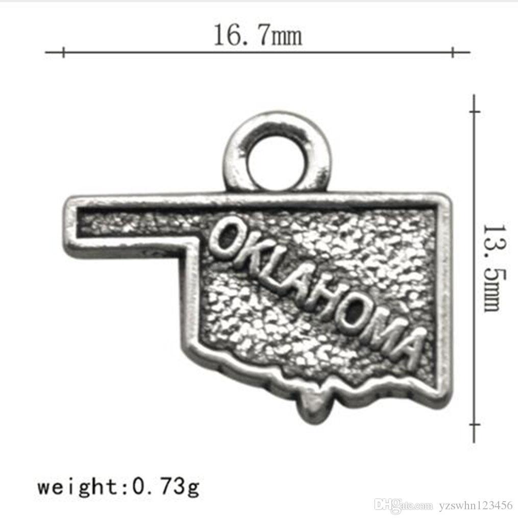 Античный посеребренные винтажном стиле Оклахома очарование карта состояния сплава металла DIY ювелирных изделий