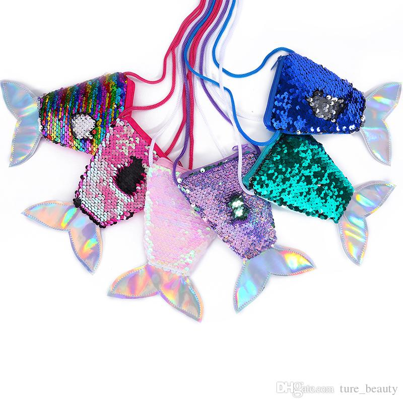 HOT Women Mermaid Tail Sequins Coin Purse Girls Crossbody Bags Sling Money Change Card Holder Wallet Purse Bag Pouch For Kids Gifts 8Pcs/