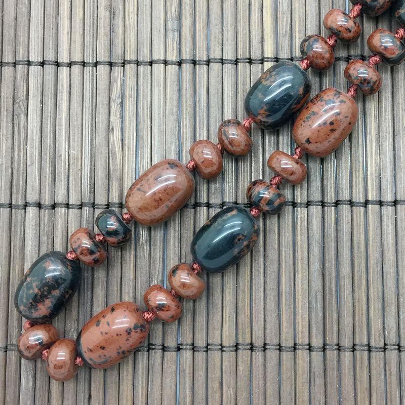 1 PC Naturalny Kamień Koralik Choker Naszyjnik Mahogański Obsidian Koralik Naszyjnik 45 cm Oval Bead Srebrny Kolor