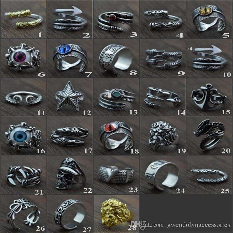 Манжета кольцо Тигр кольцо для мужчин ювелирные изделия старинные панк мужские кольца стимпанк полые кольца из нержавеющей стали аниме череп хип-хоп микс заказ