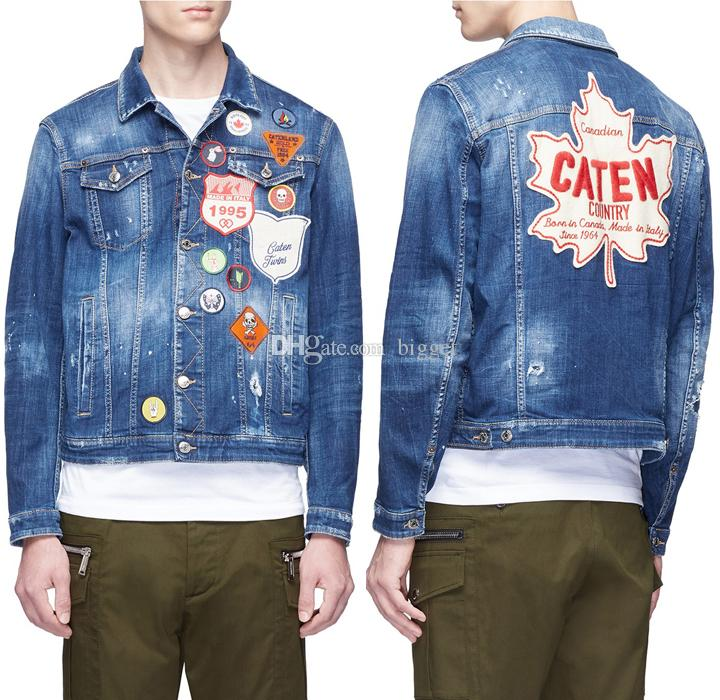 Men's Blue Distressed Patch Denim Jacket Coo Guy Worn Effect Contrasting Applications Chest Pockets For Cowboy