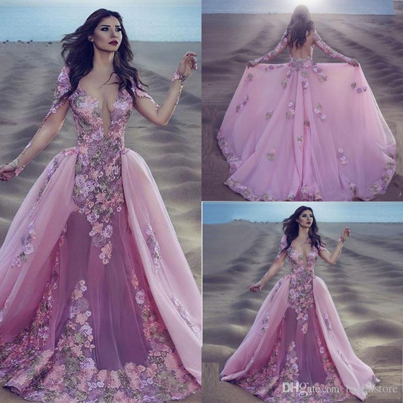 Beautiful Overskirt Prom Dresses Illusion Top Appliques 3d Floral Arabia Formal Evening Gowns Transparent Back Long Sleeve Plus Size Party