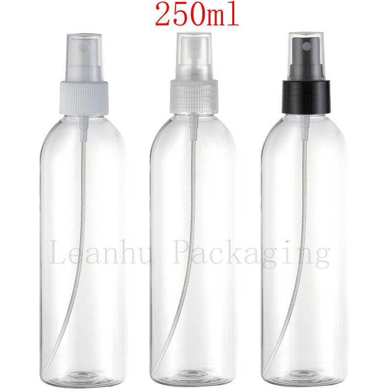 Botella plástica transparente del ANIMAL DOMÉSTICO del envase del aerosol vacío de 250ml X 24, envase cosmético recargable del aerosol de la configuración del maquillaje 250cc