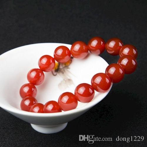 Braccialetto rotondo naturale della giada della giada rossa 12MM borda il braccialetto 7.5inch