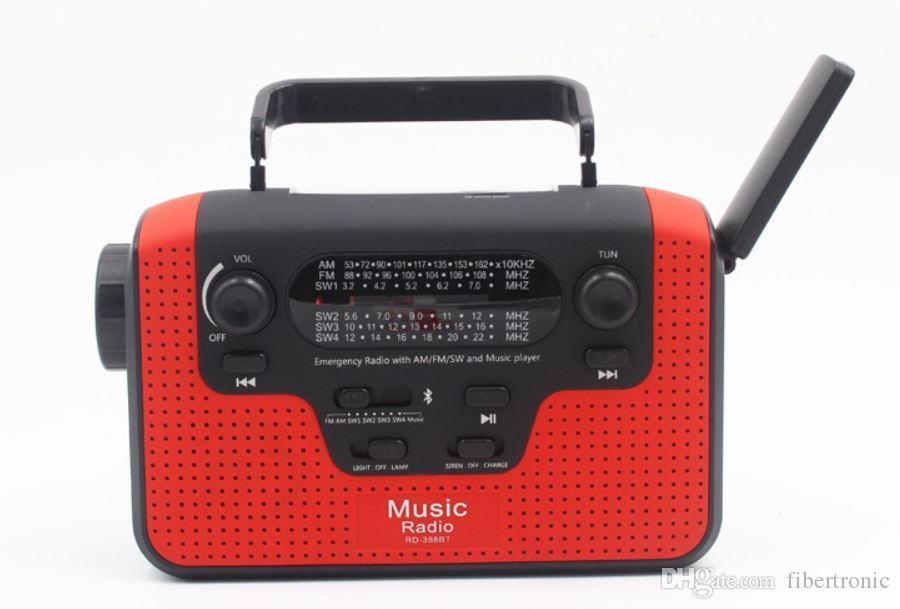 Radio solare portatile FM AM Manovella Torcia a LED autoalimentata + Altoparlante Bluetooth + USB Scheda SD Caricabatterie per cellulare Radio di emergenza di emergenza