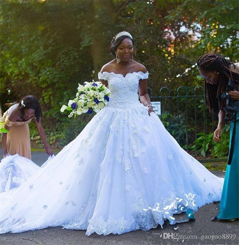 African Black Girls A Line Wedding Dresses 2019 Vintage Off Shoulder Lace 3D Floral Country Black Nigeria Bridal Gowns Vestido De Novia