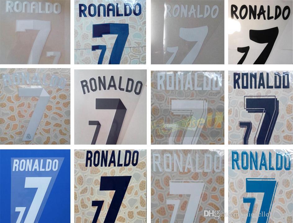 Real Madrd tamponnant des jeux de noms de football # 7 RONALDO 11 12 12 13, 13 14, 14 15, 15 16, 16 17, 17 18 de lettrage de football à domicile et à l'extérieur