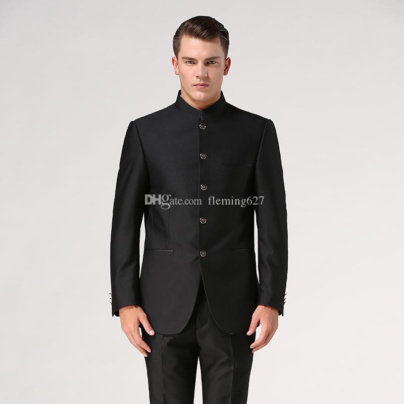 Chinese Tunika Anzug-Sets (Jacke + Hose) Stehkragen männlichen formale Klage der Männer des chinesischen Tang-Anzug Mandarin Bräutigam traditionelle ethnische Kleidung tragen