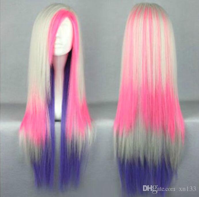 Multi-Color Pink Lila Lange Gerade Frauen Dame Cosplay Anime Perücke Perücken + Cap
