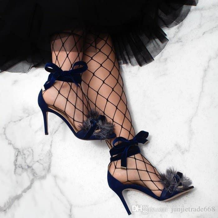 High top show pasarela Correas cruzadas de satén flor de felpa decoración fina con zapatos romanos expuestas sandalias sexy toe street woman