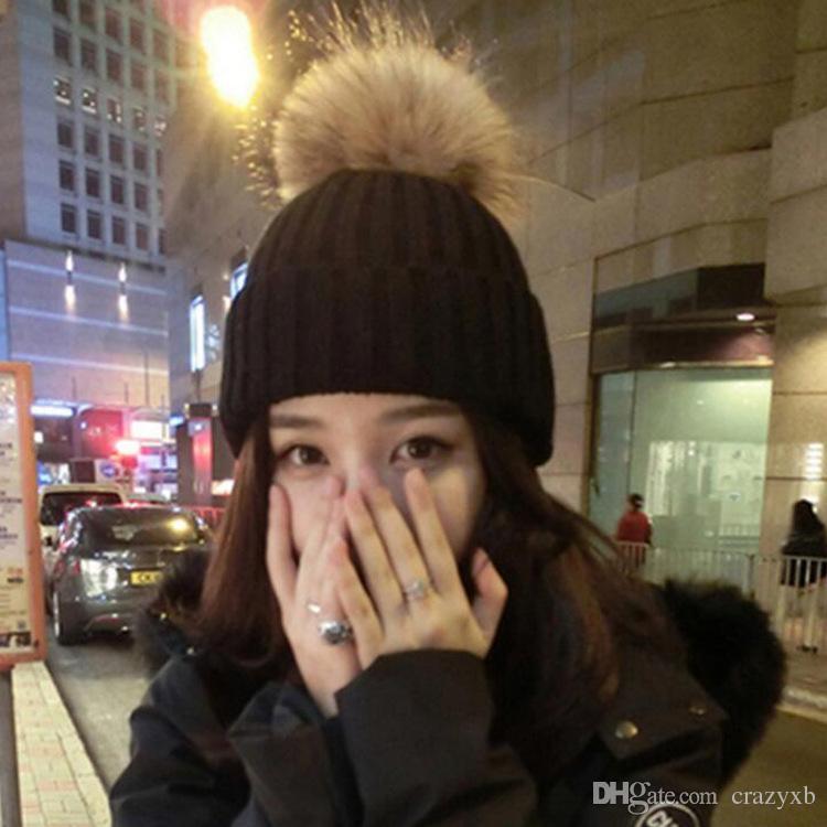 New Add Lining Knitted Winter Hats Women Warm Fur Pompom Cap Skullies & Beanies For Women High Quality Girls Hats