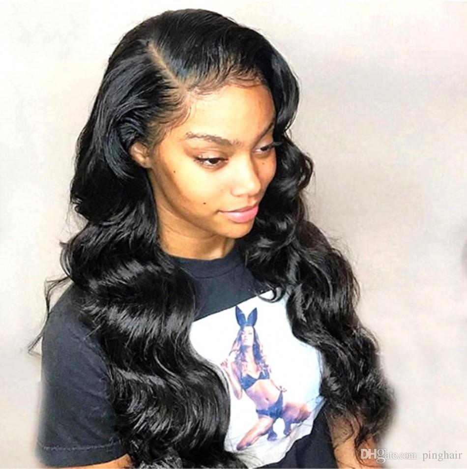 Lace Front Human Hair Wigs Body Wave Brazilian Virgin Hair Free Part Lace Wigs Pre Plucked Hairline