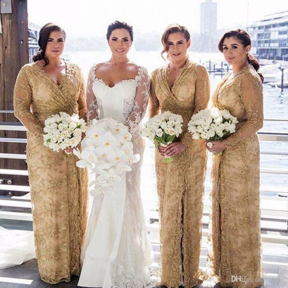 Золотые кружевные платья подружки невесты 2018 v шеи плюс размер с длинными рукавами горничные честь платья с боковым разделением длиной пола свадьба гостевая платье