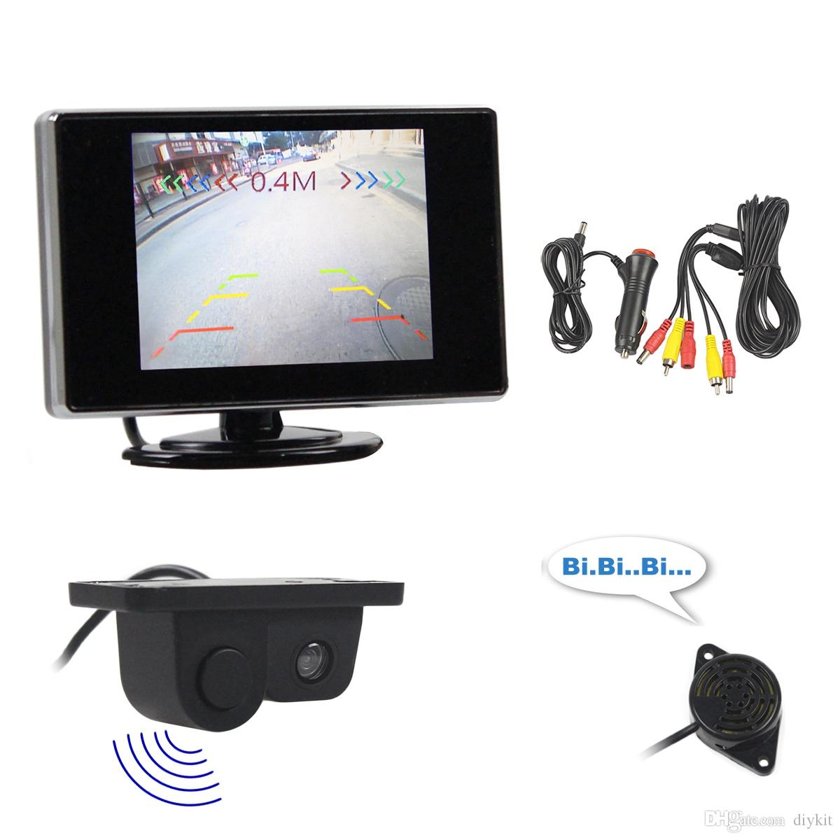DIYKIT Wired 3.5 inch TFT LCD Rear View Monitor Car Monitor + Video Parking Radar Black Sensor Car Camera Parking Accessories