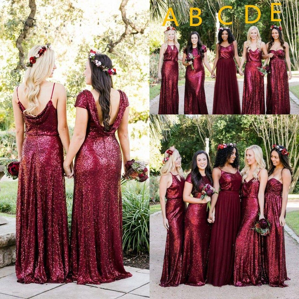 Burgonya Straplez Backless Uzun Gelinlik Modelleri Onur törenlerinde 2018 Köpüklü payetli Wedding Guest Elbise Plus Size Hizmetçi