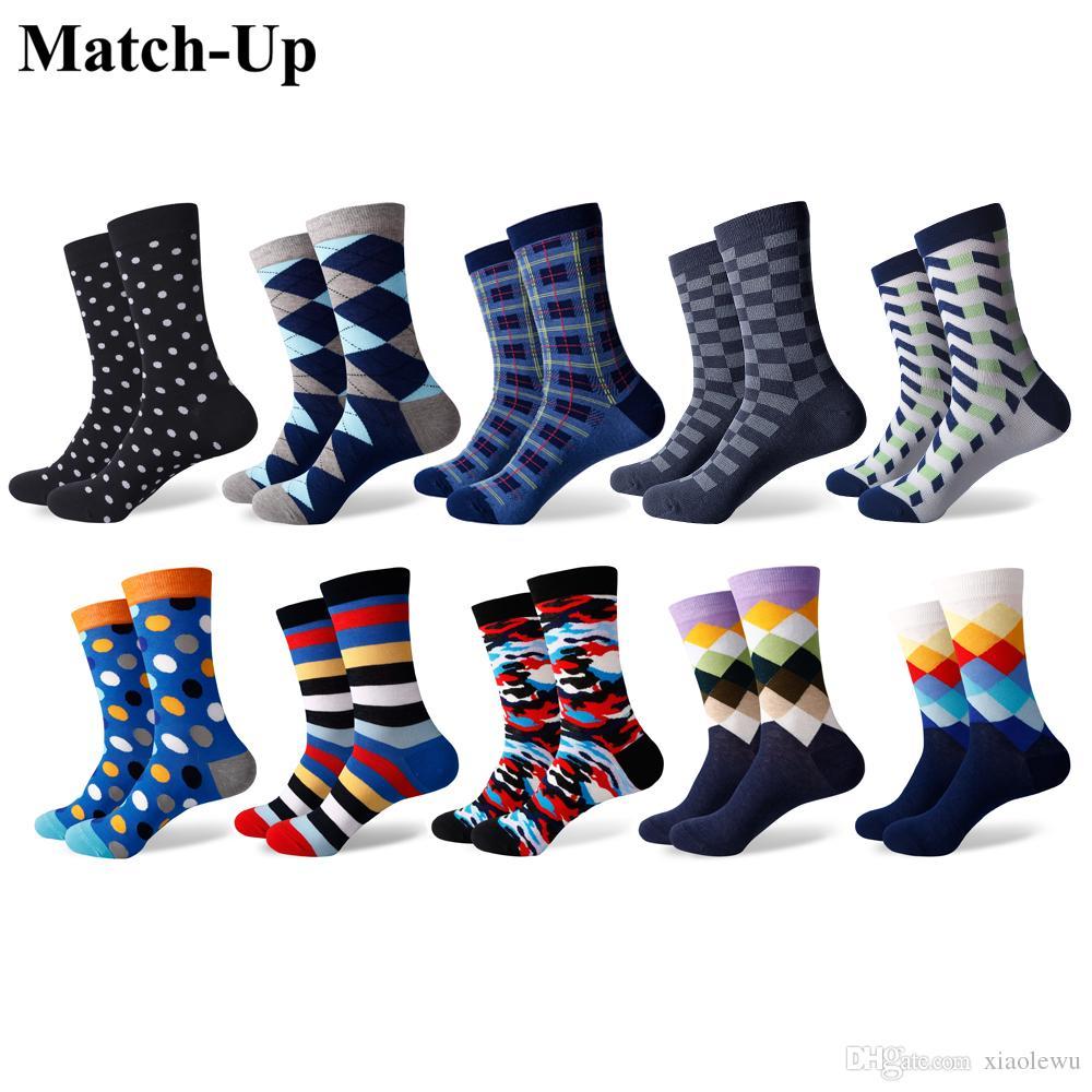 Match-Up erkekler Renkli Penye Pamuk Çorap Casual Elbise Mürettebat Serin serisi Çorap (10 Çift / grup)