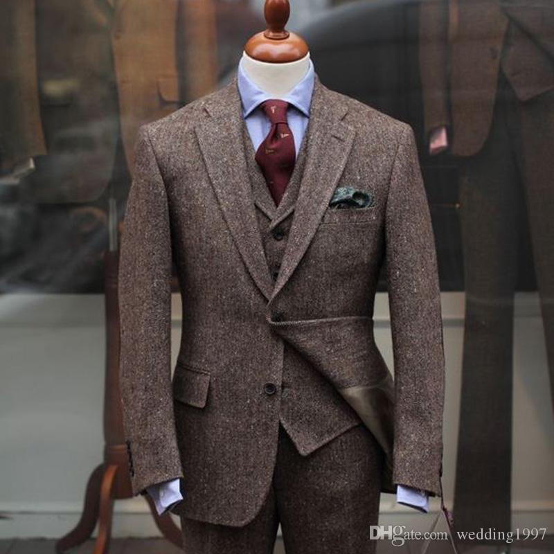 Trzy kawałek Groom Tuxedos na ślub mężczyźni garnitury najnowsze styl kurtka spodnie kamizelki dociężone klape blezer