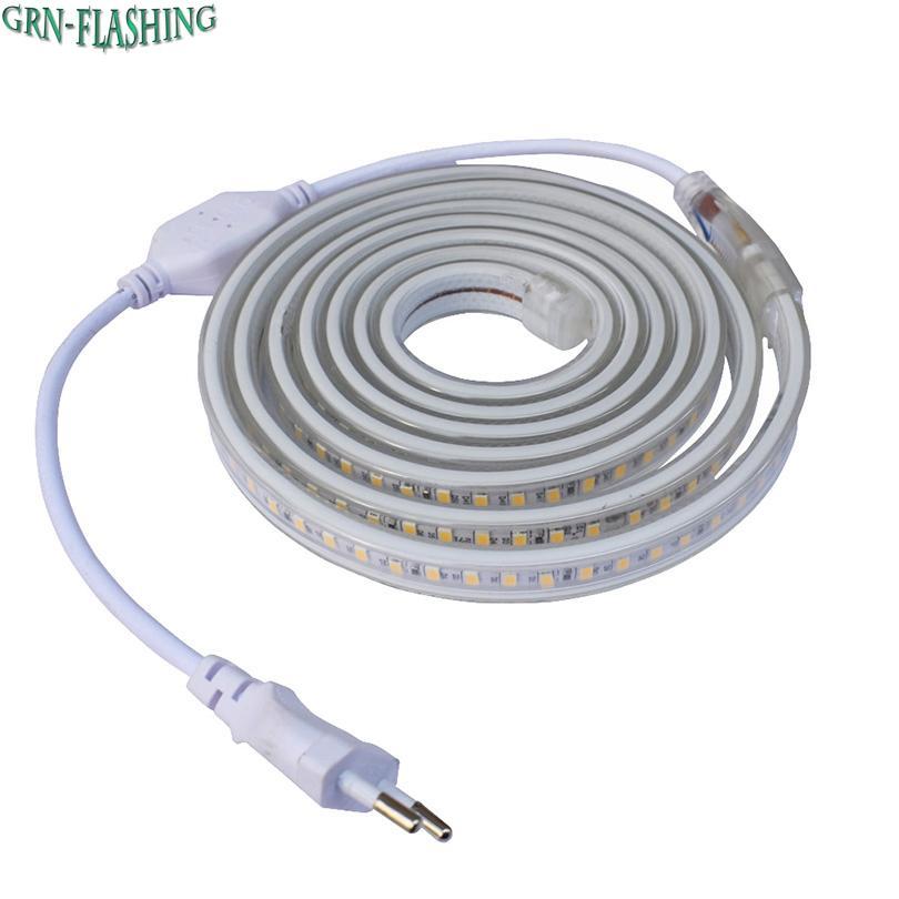 Smd 5630 Ac 220v Led Strip Flexible Light 120leds M Ip67 Waterproof Led Tape Light With Power Plug 1m 2m 3m 5m 6m 8m 9m 10m 15m Marine Led Strip