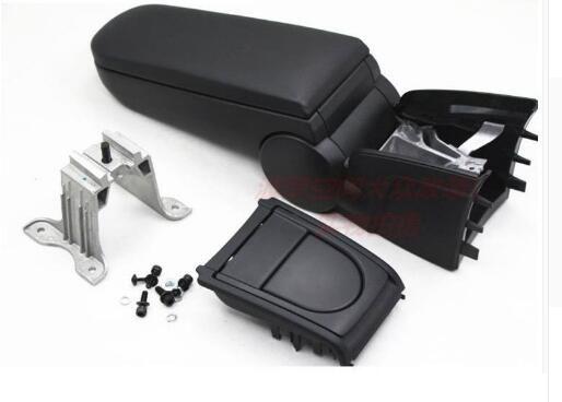 Pour Volkswagen VW Polo Accoudoirs avec boîte en cuir ou Coupe porte-console étui de rangement en tissu couleur noire nouveau design 2011 - 2016