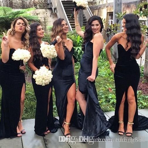 Новые милые черные длинные платья подружки невесты русалка свадебные свадебные платья невесты платья вечернее вечерняя вечеринка одежда