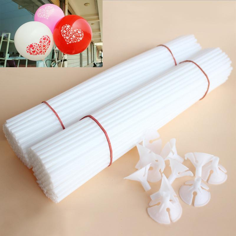 50 Lots Plastic Stick Rods for Balloons Cup Sticks with Cap Holder Birthday New Year Party Supplies Wedding Decor Accessories