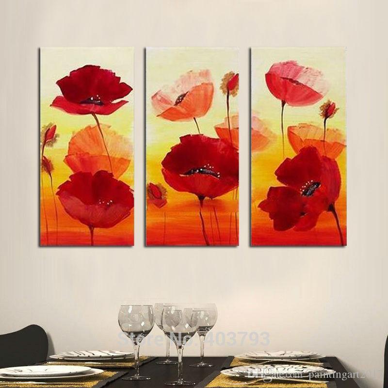 Peintures à l'huile peintes à la main Décor à la maison 3 Pcs / Lot Abstrait Fleur Rouge Décoratif Mur Photos Toile Art Pour Salon