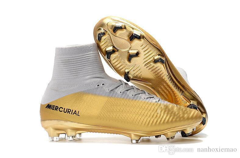 Weiß Silber CR7 Fußballschuh Mercurial Superfly V FG im Freienfußball Schuhe Top Qualität Cristiano Ronaldo Fußballschuhe