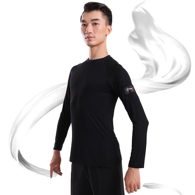 Latin Dance Shirt Hommes Noir Tissu Tops Mâle Adulte Professionnel Vêtements Salsa Carré Rumba Ballroom Galop Wear