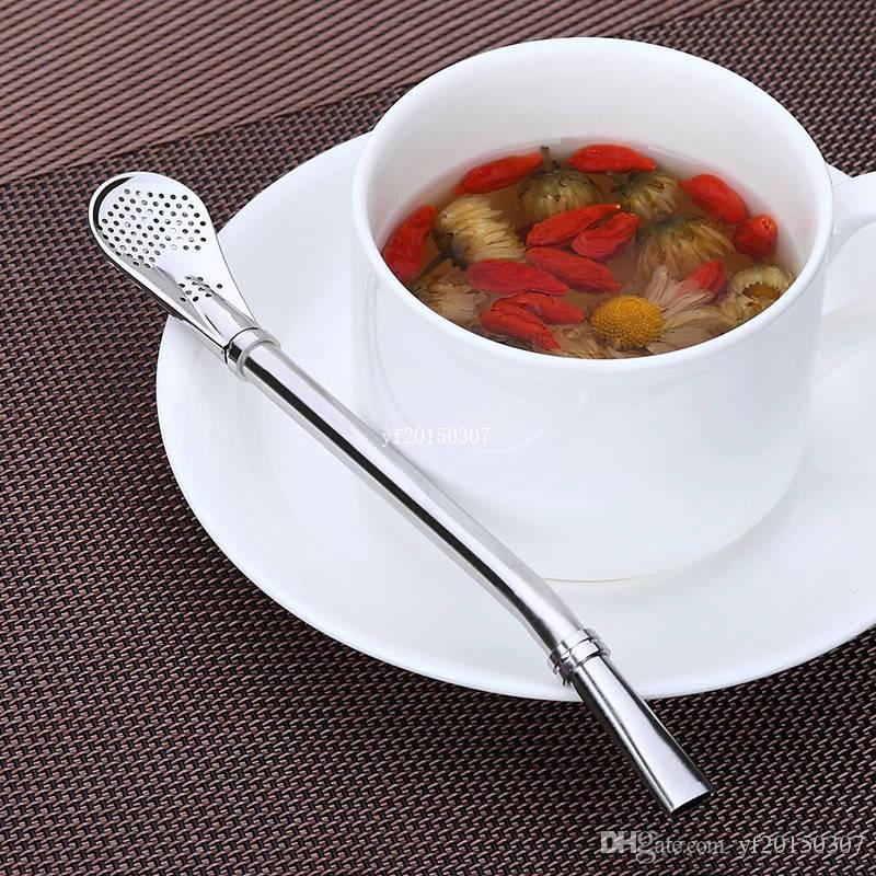 Pajas de beber de acero inoxidable reutilizables Colador de té Pajas de beber Filtrado Cuchara de paja Accesorios para beber DHL Fedex Envío gratis
