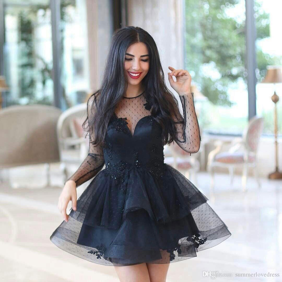 2018 Arabic Little Black Long Sleeves Lace A Line Cocktail Dresses Applique Beaded Layered Ruffles Knee Length Party Evening Prom Dresses