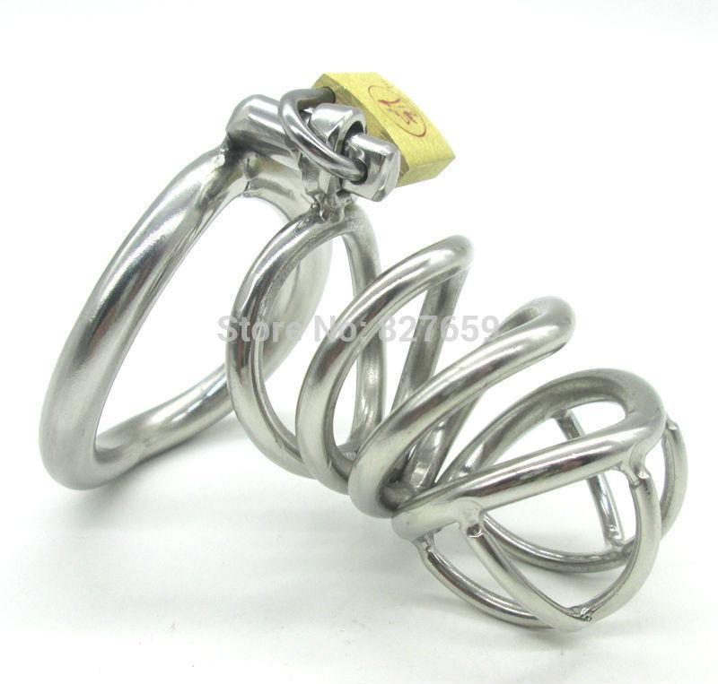 En acier inoxydable Petit dispositif de chasteté mâle Adulte Cage Cage Avec anneau en forme de coq BDSM Sex Toys Bondage Hommes Ceinture de chasteté Y1892804