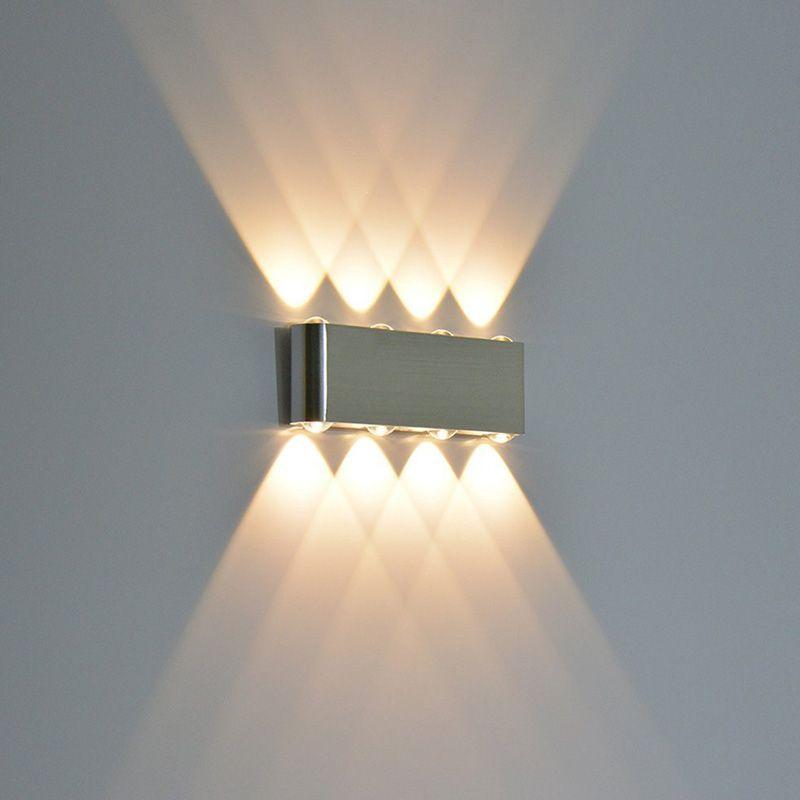 O 8W moderno conduziu para baixo para baixo da parede do spotlight da iluminação do Spotlight das luzes decorativas da lâmpada da lâmpada do retângulo da parede para o jardim AC85-265V 10PCS