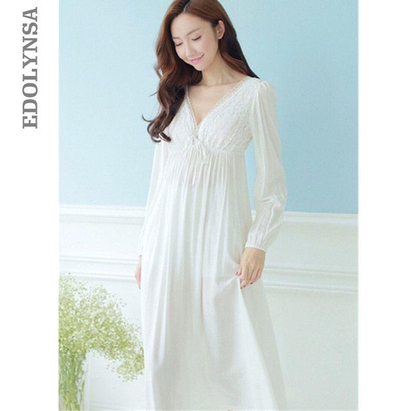 Осенние старинные ночные рубашки V-образным вырезом женские платья принцессы белые сексуальные пижамы кружева домашнее платье удобная длинная ночная рубашка # HH13 S1011