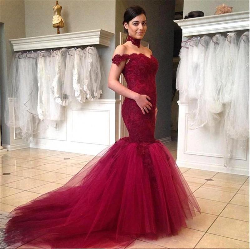 long red dress mermaid evening dresses 2018 new sexy v-neck off the shouder court train elegant party gowns vestido de festa wedding dresses